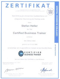 Zertifikat Business Trainer Stefan Heller